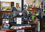 """""""Bedazzled"""" by artists Mark Smith and Rick Heidemann, one of the 35 """"Rockin' Around Saugerties"""" art works, this one seen in the Town and Country Liquors Store at 330 Rte 212, Saugerties, NY, on Friday, June 30, 2017. Photo by Jim Peppler. Copyright/Jim Peppler-2017."""
