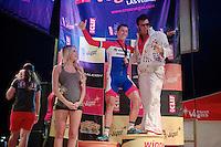 Only in Vegas: runner-up Lars Van der Haar (NLD/Giant-Shimano) shares the podium with Elvis<br /> <br /> Cross Vegas 2014