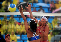 Aug. 10, 2008; Beijing, CHINA; Misty May-Treanor (USA), right, spikes the ball for a point against Japan during the womens beach volleyball at the Chaoyang Park Beach Volleyball Ground in the 2008 Beijing Olympic Games. The United States won the match. Mandatory Credit: Mark J. Rebilas-