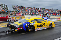 Mar. 10, 2012; Gainesville, FL, USA; NHRA pro stock driver Jeg Coughlin Jr during qualifying for the Gatornationals at Auto Plus Raceway at Gainesville. Mandatory Credit: Mark J. Rebilas-