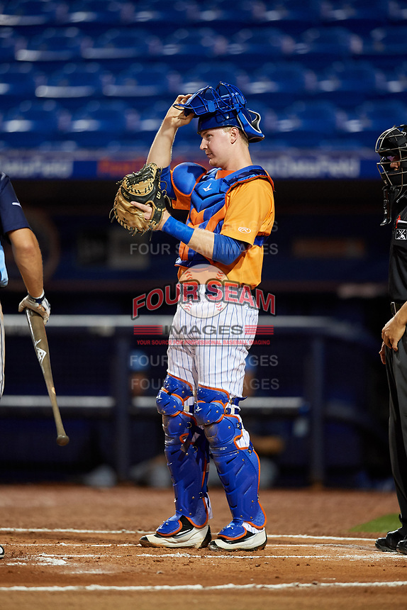 St. Lucie Mets catcher Dan Rizzie (40) during the second game of a doubleheader against the Charlotte Stone Crabs on April 24, 2018 at First Data Field in Port St. Lucie, Florida.  St. Lucie defeated Charlotte 6-5.  (Mike Janes/Four Seam Images)