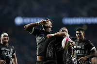 16th November 2019; Twickenham, London, England; International Rugby, Barbarians v Fiji; Temo Mayanavanua of Fiji celebrates with his team mates after scoring a try