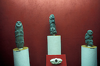 Taino (Arawak) stone figurines in the  Museum of the Dominican Man or Museo del Hombre Dominicano in Santo Domingo, Dominican Republic