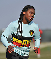 20180221 - TUBIZE , BELGIUM : Belgian Esther Buabadi pictured during the friendly female soccer match between Women under 17 teams of  Belgium and Czech Republic , in Tubize , Belgium . Wednesday 21th February 2018 . PHOTO SPORTPIX.BE DIRK VUYLSTEKE