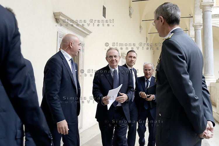 Roma, 28 Ottobre 2015<br /> Pier Carlo Padoan, ministro dell'economia.<br /> Celebrata presso il Palazzo della Cancelleria la 90° Giornata mondiale del Risparmio.