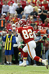 31 October 2004: Dante Hall starts upfield on a 16 yard kickoff return in the first quarter. The Kansas City Chiefs defeated the Indianapolis Colts 45-35 at Arrowhead Stadium in Kansas City, MO in a regular season National Football League game..