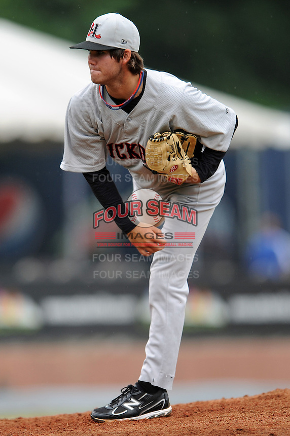 Hickory Crawdads Cody Buckel #22 delivers a pitch during a  game against the Asheville Tourists at McCormick Field in Asheville,  North Carolina;  June 12, 2011.  The Crawdads won the game 12-3.  Photo By Tony Farlow/Four Seam Images
