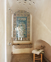 A shower room in traditional hammam style