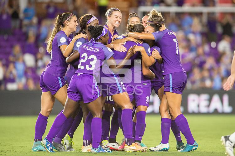 Orlando, FL - Saturday July 15, 2017: Orlando Pride  during a regular season National Women's Soccer League (NWSL) match between the Orlando Pride and FC Kansas City at Orlando City Stadium.