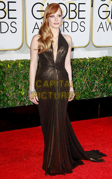 BEVERLY HILLS, CA - January 11: Jessica Chastain at Golden Globes 2015 held at Beverly Hilton in Beverly Hills, California on January 11, 2015.  <br /> CAP/MPI/mpi500<br /> &copy;mpi500/MPI/Capital Pictures