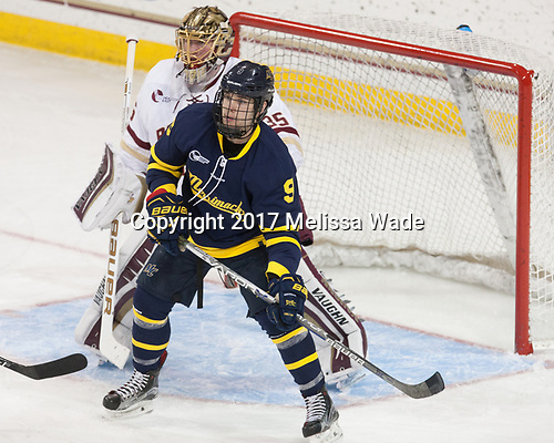 Ryan Edquist (BC - 35), Jace Hennig (Merrimack - 9) - The visiting Merrimack College Warriors defeated the Boston College Eagles 6 - 3 (EN) on Friday, February 10, 2017, at Kelley Rink in Conte Forum in Chestnut Hill, Massachusetts.