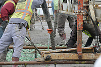 Workers on a Deck Concrete Pour at the New Pearl Harbor Memorial Bridge, New Haven Harbor Crossing Corridor. CT DOT Contract B1 Project No. 92-618 Progress Photography. East end of the Northbound West Approaches. Eighth on site photo capture of every four month chronological documentation. No faces, gear and operations.