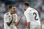 Real Madrid's Dani Ceballos (l) and Daniel Carvajal celebrate goal during La Liga match. August 19,2018. (ALTERPHOTOS/Acero)