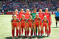 Portland, OR - Saturday July 15, 2017: Portland Thorns starting eleven during a regular season National Women's Soccer League (NWSL) match between the Portland Thorns FC and the North Carolina Courage at Providence Park.