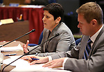Nevada Department of Taxation Director Deonne Contine and Chris Nielsen, Gov. Brian Sandoval's Deputy Chief of Staff, testify at the Legislative Building in Carson City, Nev., on Thursday, March 26, 2015. <br /> Photo by Cathleen Allison