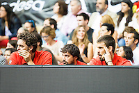 Spain's basketball player Pau Gasol, Sergio Llull and Marc Gasol during the first match of the preparation for the Rio Olympic Game at Coliseum Burgos. July 12, 2016. (ALTERPHOTOS/BorjaB.Hojas)