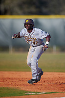 Central Michigan Chippewas center fielder Dazon Cole (42) during a game against the Boston College Eagles on March 8, 2016 at North Charlotte Regional Park in Port Charlotte, Florida.  Boston College defeated Central Michigan 9-3.  (Mike Janes/Four Seam Images)
