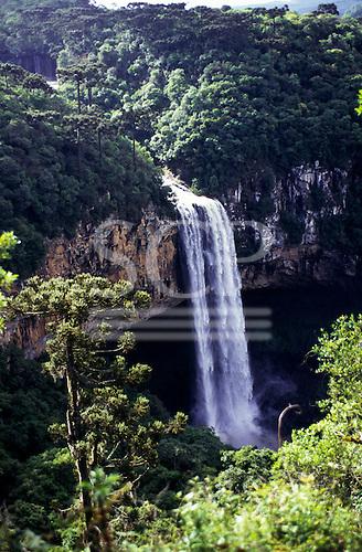 Rio Grande do Sul State, Brazil. Spectacular view of the Cascata do Caracol waterfall, canyon Serra Gaucha.