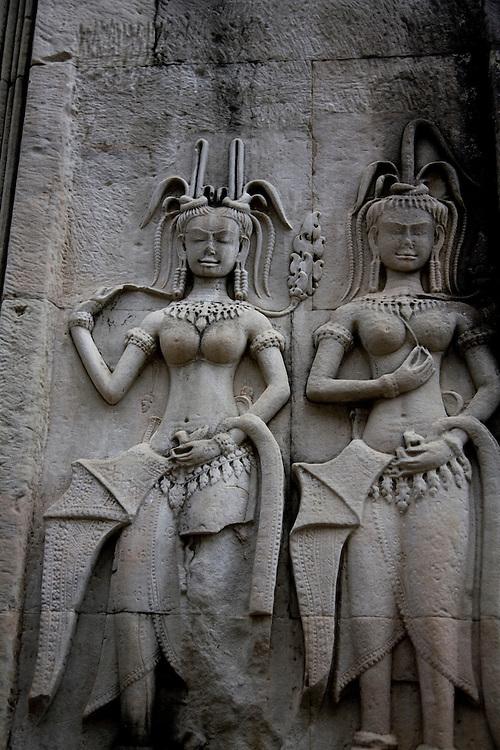 Stone carvings at Angkot Wat, Cambodia