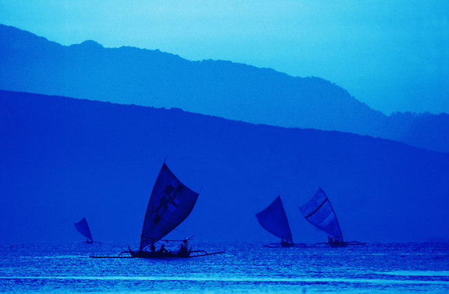 Fishing boats near Bali as seen from shores of Island of Java.