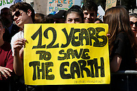 Banners 12 years to save the earth<br /> Rome April 19th 2019. Fridays for Future Climate Strike in Rome, Piazza del Popolo.<br /> photo di Samantha Zucchi/Insidefoto