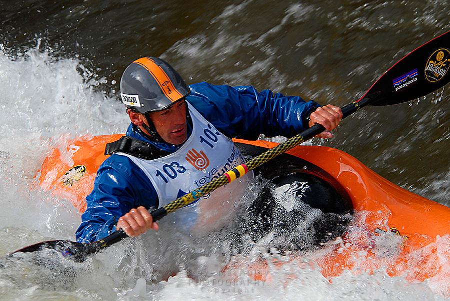 """Whitewater kayaking at Teva Mountain Games, Vail CO. Eric """"EJ"""" Jackson of Jackson Kayaks"""