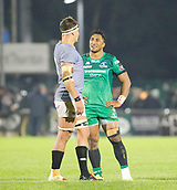 9th September 2017, Galway Sportsground, Galway, Ireland; Guinness Pro14 Rugby, Connacht versus Southern Kings; Bundee Aki (Connacht) talks with Dries van Schalkwyk (Southern Kings) after the full time whistle