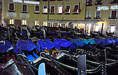 Many of Venice, Italy's signature gondolas are parked for the night outside the Best Western Hotel Cavalletto e Doge Orseolo, which is very close to Piazza San Marco, in the heart of Venice on Friday, October 22, 2010..Credit: Ron Sachs / CNP
