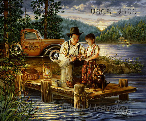 Dona Gelsinger, LANDSCAPES, paintings, man, boy, fishing(USGE9505,#L#) Landschaften, Schiffe, paisajes, barcos, llustrations, pinturas