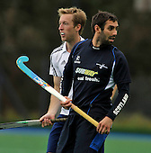 Hockey - Mens Invitational 4 Nations event at Sportscotland National Centre, Largs - Scotland V England - on opposite sides for once, Great Britain team-mates Barry Middleton (England left) and Niall Stott (Scotland) - Picture by Donald MacLeod - 13.06.11 - 07702 319 738 - www.donald-macleod.com - clanmacleod@btinternet.com