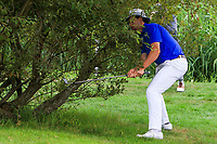 Alex Glesson (Castle) under a bush on the 7th during the 1/4 Finals of the AIG Irish Close Championship at the European Club, Brittas Bay, Wicklow, Ireland on Monday 6th August 2018.<br /> Picture: Thos Caffrey / Golffile<br /> <br /> All photo usage must carry mandatory copyright credit (&copy; Golffile | Thos Caffrey)