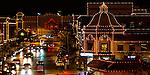 Christmas lights shine at the Country Club Plaza in Kansas City, Missouri at Chirstmas Time.