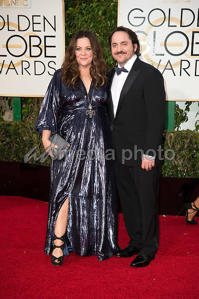 "Melissa McCarthy, Golden Globe Nominee for BEST PERFORMANCE BY AN ACTRESS IN A MOTION PICTURE - MUSICAL OR COMEDY for ""Spy"",  and guest, arrives at the 73rd Annual Golden Globe Awards at the Beverly Hilton in Beverly Hills, CA on Sunday, January 10, 2016. Photo Credit: HFPA/AdMedia"