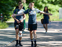 20170717 - RIJEN , NETHERLANDS :  Belgian Yana Daniels (r) pictured with Belgian Lorca Van De Putte (left) during a training session of the Belgian national women's soccer team Red Flames on the pitch of Rijen , on Tuesday 18 July 2017 in Rijen . The Red Flames are at the Women's European Championship 2017 in the Netherlands. PHOTO SPORTPIX.BE | DAVID CATRY