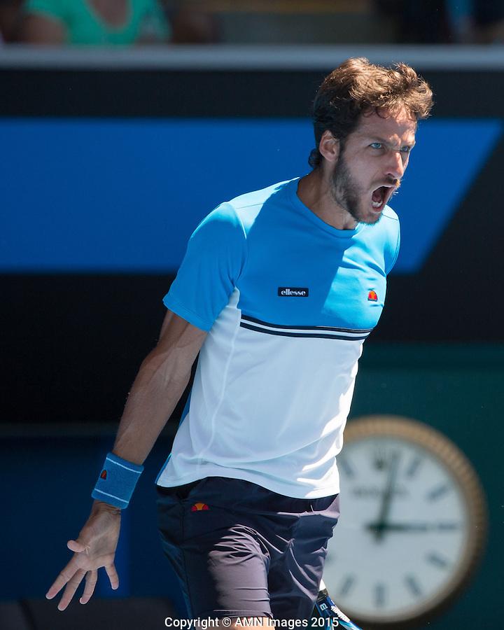 Feliciano Lopez (ESP)<br /> <br /> Tennis - Australian Open 2015 - Grand Slam -  Melbourne Park - Melbourne - Victoria - Australia  - 24 January 2015. <br /> &copy; AMN IMAGES