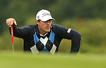 Brooks Koepka lines up his putt on the 2nd hole during the first round of the ISPS Handa Wales Open 2013 at the Celtic Manor Resort<br /> <br /> 29.08.13<br /> <br /> ©Steve Pope-Sportingwales
