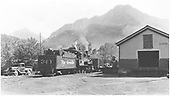 Engine #340 switching cars at depot.<br /> D&amp;RGW  Ouray, CO