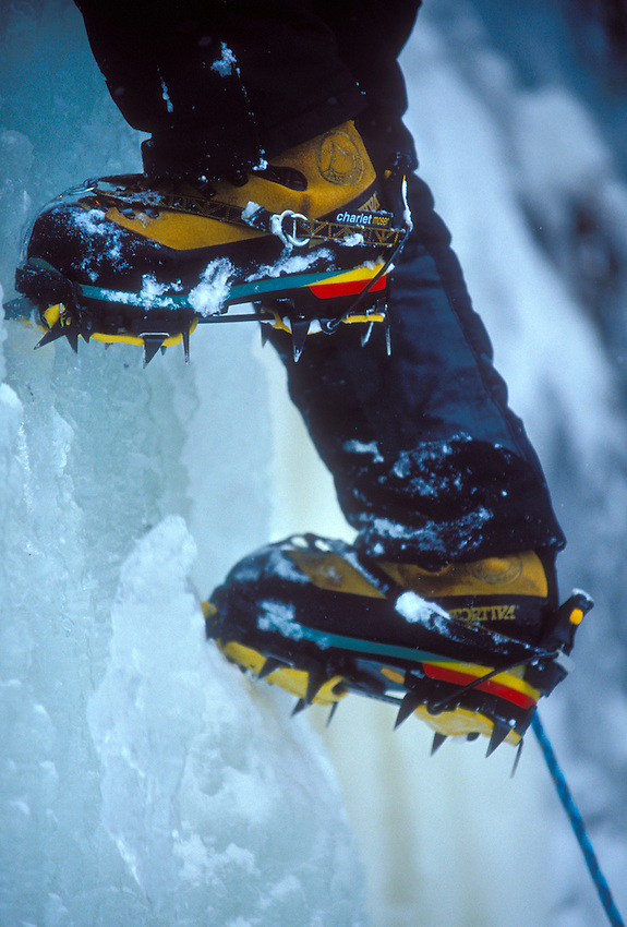 An ice climber's boots and crampons in Pictured Rocks National Lakeshore near Munising, Mich.