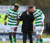 3rd February 2019, McDiarmid Park, Perth, Scotland; Ladbrokes Premiership football, St Johnston versus Celtic;  Celtic Manager Brendan Rodgers shares a joke with Scott Sinclair and Callum McGregor of Celtic