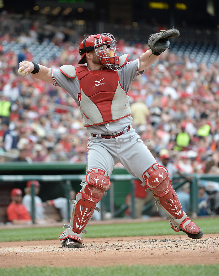 CIncinnati Reds Tucker Barnhart (16) during a game against the Washington Nationals on July 1, 2016 at Nationals Park in Washington DC. The Nationals beat the Reds 3-2.