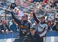 Feb 11, 2019; Pomona, CA, USA; NHRA top fuel driver Austin Prock (left) with Steve Torrence during the Winternationals at Auto Club Raceway at Pomona. Mandatory Credit: Mark J. Rebilas-USA TODAY Sports