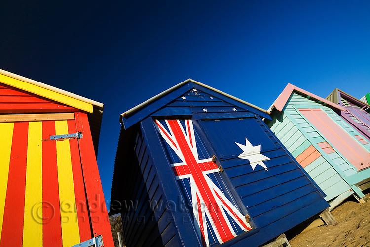 Colourful beach huts at Brighton Beach in Melbourne, Victoria, AUSTRALIA.