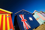 Colourful beach huts at Brighton Beach in Melbourne, Victoria, AUSTRALIA.