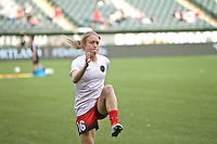 Portland, Oregon - Sunday April 17, 2016: Portland Thorns FC defender Emily Sonnett (16). The Portland Thorns play the Orlando Pride during a regular season NWSL match at Providence Park. The Thorns won 2-1.