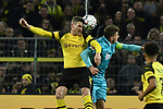 01.12.2018, Signal Iduna Park, Dortmund, GER, DFL, BL, Borussia Dortmund vs SC Freiburg, DFL regulations prohibit any use of photographs as image sequences and/or quasi-video<br /> <br /> im Bild Kopfball / Kopfballduell Lukasz Piszczek (#26, Borussia Dortmund) Mike Frantz (#8, SC Freiburg) <br /> <br /> Foto © nordphoto/Mauelshagen