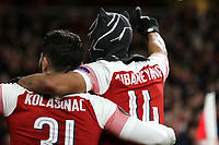 Pierre-Emerick Aubameyang of Arsenal celebrates scoring their third goal by wearing a mask during during Arsenal vs Rennes, UEFA Europa League Football at the Emirates Stadium on 14th March 2019
