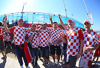 Croatia fans soak up the atmosphere outside the Itaquerao stadium ahead of kick off in the opening match of the 2014 World Cup vs hosts Brazil