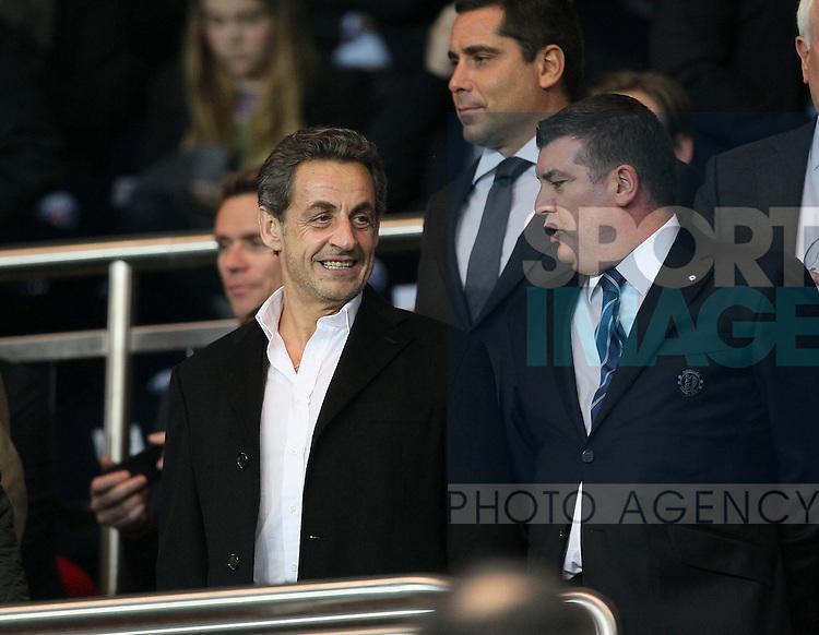 Former president Nicolas Sarkozy watches from the stand<br /> <br /> Paris Saint Germain vs Chelsea - Champions League - Parc Des Princes- Paris - France - 02/03/2014  - Pic David Klein/Sportimage
