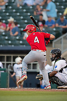 Springfield Cardinals infielder Evan Mendoza (4) awaits a pitch on May 16, 2019, at Arvest Ballpark in Springdale, Arkansas. (Jason Ivester/Four Seam Images)