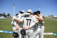 25th November 2019; Mt Maunganui, New Zealand;  NZ team huddle International test match day 5 of 1st test, New Zealand versus England;  at Bay Oval, Mt Maunganui, New Zealand.